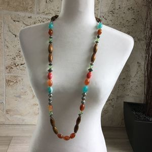 Colorful Wood, Plastic and Metal Beaded Necklace